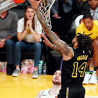 30 March 2018: Los Angeles Lakers forward Brandon Ingram (14) goes for the layup during the Milwaukee Bucks 124-122 victory over the LA Lakers, at the Staples Center, Los Angeles, California, USA.