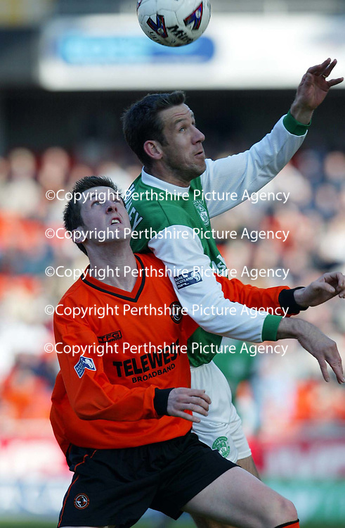 Dundee United v Hibs  07.04.02<br />Derek Townsley beats David Winters<br /><br />Pic by Graeme Hart<br />Copyright Perthshire Picture Agency<br />Tel: 01738 623350 / 07990 594431