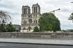 Notre Dame de Paris on the 43rd day of lockdown to prevent the spread of Covid-19. Paris, France on April 28, 2020. Photo by Vincent Gramain/ABACAPRESS.COM