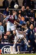 SYDNEY, AUSTRALIA - AUGUST 21: APIA Leichhardt Tigers midfielder Sean Symons (16) goes up for the ball at the FFA Cup Round 16 soccer match between APIA Leichhardt Tigers FC and Melbourne Victory at Leichhardt Oval in Sydney on August 21, 2018. (Photo by Speed Media/Icon Sportswire)