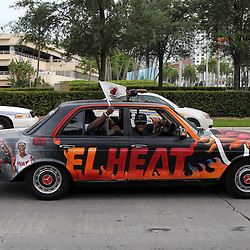 Jun 21, 2012; Miami, FL, USA; Miami Heat fans drive by American Airlines Arena before game five in the 2012 NBA Finals against the Oklahoma City Thunder. Mandatory Credit: Derick E. Hingle-US PRESSWIRE