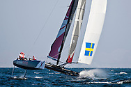 Official Practice day, 20th of February. Extreme Sailing Series, Act 1, Muscat, Oman (20 - 24 Februari 2011)  Sander van der Borch / Artemis Racing