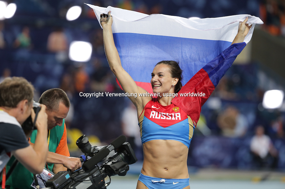 Yelena Isinbayeva of Russia celebrates after winning the women's Pole Vault final at the 14th IAAF World Championships in Athletics at Luzhniki Stadium in Moscow, Russia, 13 August 2013. Photo: Michael Kappeler/dpa