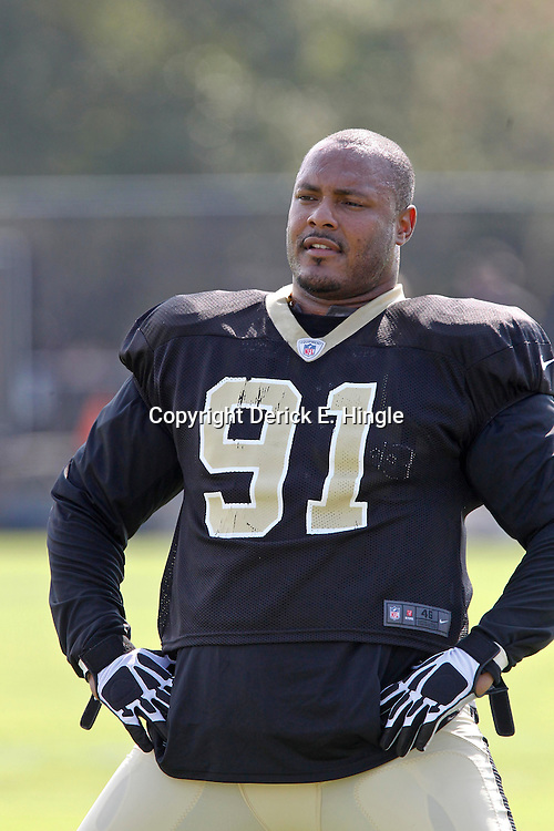 July 29, 2012; Metairie, LA, USA; New Orleans Saints defensive end Will Smith (91) during a training camp practice at the team's practice facility. Mandatory Credit: Derick E. Hingle-US PRESSWIRE
