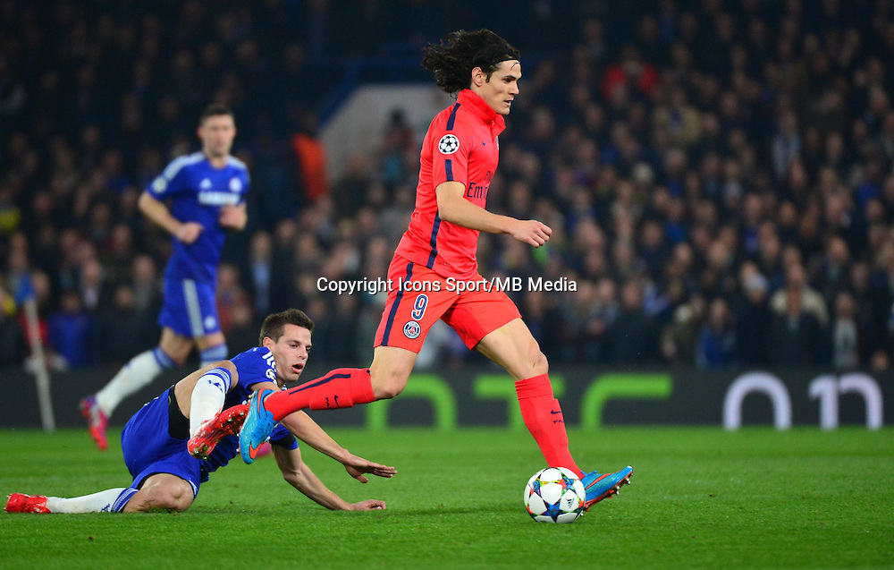 Edinson CAVANI / Cesar AZPILICUETA - 11.03.2015 - Chelsea / Paris Saint Germain - 1/8Finale retour Champions League<br /> Photo : Dave Winter / Icon Sport