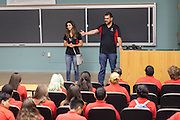 Monica Nezzer and Patrick Arite talk with prospective students while giving a campus tour on Thursday June 2, 2016. Arite and Nezzers are both students at the University of New Mexico and are working 15-30 hours per week giving campus tours in order to help put themselves through college. (Steven St. John for NPR)