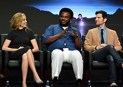 BEVERLY HILLS - AUGUST 8: Cast members  Ally Walker, Executive Producer/cast member Craig Robinson, Executive Producer/cast member Adam Scott onstage during the panel for 'Ghosted' at the FOX portion of the 2017 Summer TCA press tour at the Beverly Hilton on August 8, 2017 in Beverly Hills, California. (Photo by Frank Micelotta/Fox/PictureGroup) *** Please Use Credit from Credit Field ***