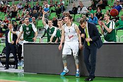 Gregor Hrovat of Olimpija celebrates during basketball match between KK Union Olimpija and KK Tajfun in Quarterfinals of 3rd Nova KBM Slovenian Champions League 2015/16, on May 17, 2016, in Arena Stozice, Ljubljana, Slovenia. Photo by Matic Klansek Velej / Sportida