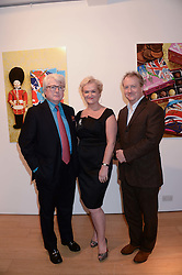 Left to right, NICK CREAN co-owner of Prestat, KITTY ARDEN and BILL KEELING co-owner of Prestat at a reception to launch Prestat's special edition of their award-winning chocolate bars to raise money for the charity Walking with the Wounded held at Sladmore Gallery, Bruton Place, London on 10th October 2013.