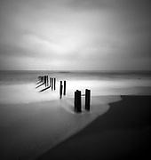 broken groynes on Folkestone Warren Beach, taken with a LeRouge66 pinhole camera.
