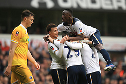 12 March 2017 - The FA Cup - (Sixth Round) - Tottenham Hotspur v Millwall - Victor Wanyama of Tottenham Hotspur celebrates their 1st goal among team mates in front of a dejected Jake Cooper of Millwall - Photo: Marc Atkins / Offside.