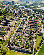 Nederland, Noord-Brabant, Den Bosch, 27-05-2013; Plan Zuid / De Pettelaar. Midden (li) Pettelaarseweg, gezien naar Provinciehuis en Zuiderplas.<br /> Stadsuitbreiding en nieuwbouwwijk uit de jaren vijftig en zestig van de vorige eeuw, wederopbouwperiode. Groen en ruim opgezet.<br /> New residential area built in the fifties and sixties in Den Bosch. Spacious and plentyful green areas.<br /> Reconstruction area.<br /> luchtfoto (toeslag op standard tarieven)<br /> aerial photo (additional fee required)<br /> copyright foto/photo Siebe Swart