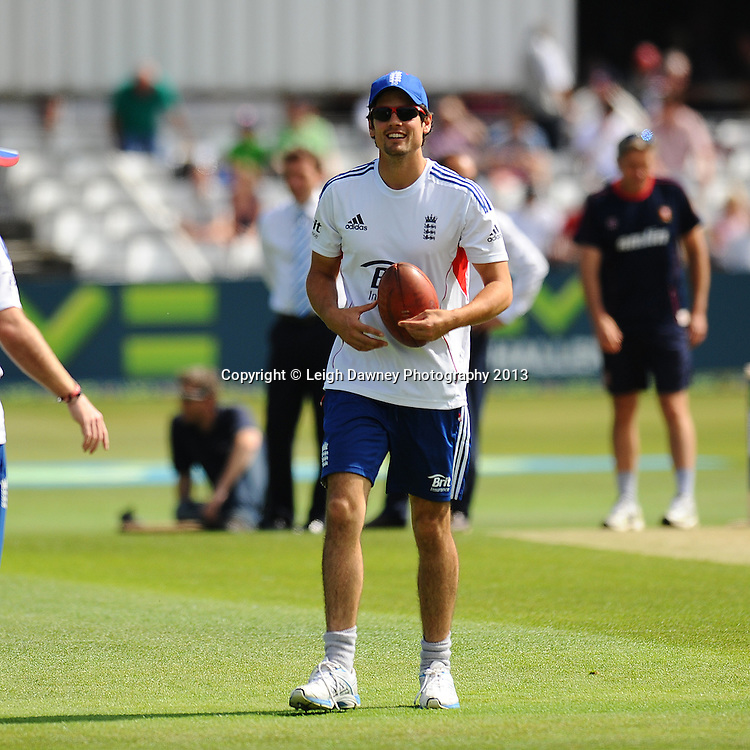 Alastair Cook of England looking relaxed during warm up on the first of a four day Ashes warm up game against Essex at the Essex County Cricket Ground, 30.06.13.  Credit: © Leigh Dawney Photography. Self Billing where applicable. Tel: 07812 790920