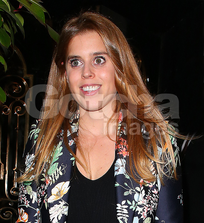 Princess Beatrice shows off her new blonde highlights as she leaves Scott's restaurant in Mayfair, London, UK. 02/10/2017<br />BYLINE MUST READ : JAMESY/GOTCHA IMAGES<br /><br />Copyright by &copy; Gotcha Images Ltd. All rights reserved.<br />Usage of this image is conditional upon the acceptance <br />of Gotcha Images Ltd, terms and conditions available at<br />www.gotchaimages.com