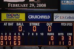 The scoreboard at Davenport Field.  The #16 ranked Virginia Cavaliers baseball team defeated the Siena Saints 17-2 at the University of Virginia's Davenport Field in Charlottesville, VA on February 29, 2008.