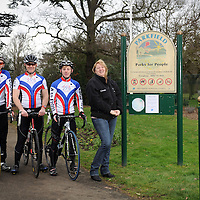 18.02.2012.Hertsmere Borough Council Magazine Shoot. .The new cycle lane at Parkfield in Potters Bar, which connects Byng Drive and the High Street. Pictured are the A-to-B cycling team (L-R) Chris Dixon,  Edward Heseltine and Matt Cardell-Williams. .Photography © Blake-Ezra Cole. www.blakeezracole.com