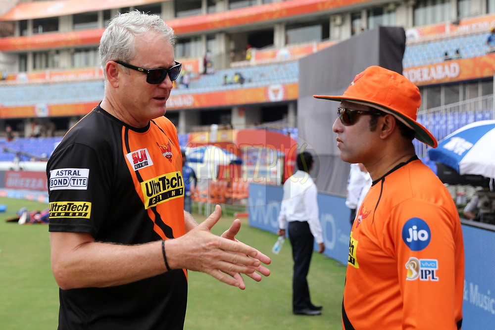 Tom Moddy and VVS Laxman during match 6 of the Vivo 2017 Indian Premier League between the Sunrisers Hyderabad and the Gujarat Lions held at the Rajiv Gandhi International Cricket Stadium in Hyderabad, India on the 9th April 2017<br /> <br /> Photo by Faheem Hussain - IPL - Sportzpics