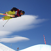 Samantha Poots, New Zealand, in action in the Women's Halfpipe Finals during The North Face Freeski Open at Snow Park, Wanaka, New Zealand, 3rd September 2011. Photo Tim Clayton...