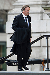 © London News Pictures.17/04/2013. London, UK.  Terry Wogan arriving at St Paul's Cathedral in London for The Funeral of former British Prime Minister, Margaret Thatcher on April 17, 2013. Photo credit : Ben Cawthra/LNP