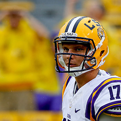 Sep 21, 2013; Baton Rouge, LA, USA; LSU Tigers quarterback Stephen Rivers (17) before a game against the Auburn Tigers at Tiger Stadium. Mandatory Credit: Derick E. Hingle-USA TODAY Sports
