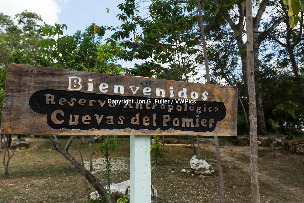 Welcome sign at the Pomier Caves Anthroplogical Reserve near San Cristobal in the Dominican Republic.