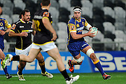 Tom Franklin of Otago looks for options during the Mitre 10 Competition match between Otago and Wellington at Forsyth Barr Stadium on August 25, 2016 in Dunedin, New Zealand. Credit: Joe Allison / www.Photosport.nz