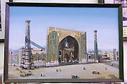 Uzbekistan, Samarqand.<br /> Registan ensemble.<br /> Painting of Ulugbek Medressa construction at the museum at Tilla-Kari Medressa.