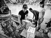 16 FEBRUARY 2017 - THEPHARAK, SAMUT PRAKAN, THAILAND: A delivery man unloads his cargo from small boat after crossing Khlong Samrong, in the Bangkok suburbs. The boatman pulls it across using a system of ropes and pulleys. He's been working on the boat since he was a child. Small ferries like this used to be common in Bangkok but many of the khlongs (the canals that used to crisscross Bangkok) have been filled in and bridges have been across the remaining khlongs. Now there are only a handful of the ferries left. This ferry charges 2 Baht (the equivalent of about .06¢ US) per person to take a person across the khlong.      PHOTO BY JACK KURTZ