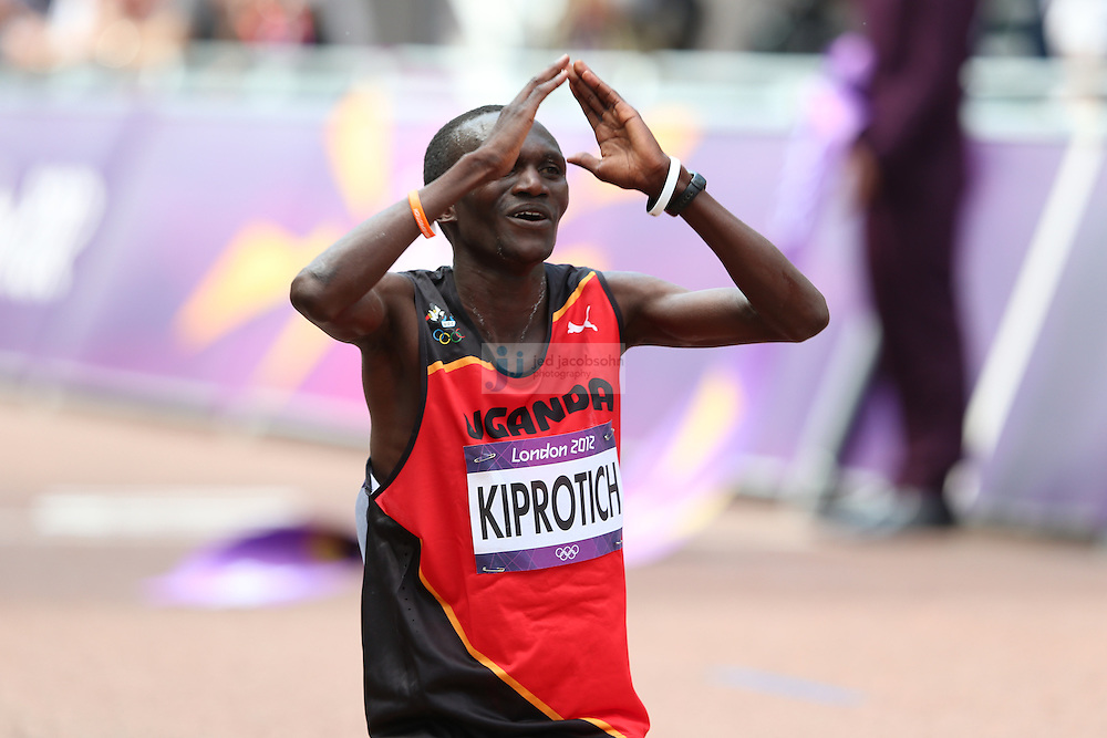 Stephen Kiprotich of Uganda after winning the men's marathon during day 16 of the London Olympic Games in London, England, United Kingdom on August 12, 2012..(Jed Jacobsohn/for The New York Times)..