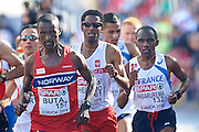 (C) Yared Shegumo from Poland competes in men's marathon during the Sixth Day of the European Athletics Championships Zurich 2014 at Letzigrund Stadium in Zurich, Switzerland.<br /> <br /> Switzerland, Zurich, August 17, 2014<br /> <br /> Picture also available in RAW (NEF) or TIFF format on special request.<br /> <br /> For editorial use only. Any commercial or promotional use requires permission.<br /> <br /> Photo by &copy; Adam Nurkiewicz / Mediasport