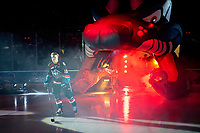KELOWNA, CANADA - SEPTEMBER 22:  Ted Brennan #10 of the Kelowna Rockets enters the ice against the Kamloops Blazers on September 22, 2018 at Prospera Place in Kelowna, British Columbia, Canada.  (Photo by Marissa Baecker/Shoot the Breeze)  *** Local Caption ***
