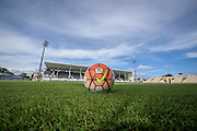 A Nike football saying Hyundai A-League 15/16 is lying on the pitch during a Wellington Phoenix A-League training session at AMI Stadium in Christchurch, New Zealand. 29 January 2016. Photo: Kai Schwoerer / www.photosport.nz