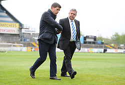 Bristol Rovers Manager, Darrell Clarke and Bristol Rovers Chairman Nick Higgs shake hands as they leave the pitch prior to kick off. - Photo mandatory by-line: Alex James/JMP - Mobile: 07966 386802 - 03/05/2015 - SPORT - Football - Bristol - Memorial Stadium - Bristol Rovers v Forest Green Rovers - Vanarama Football Conference