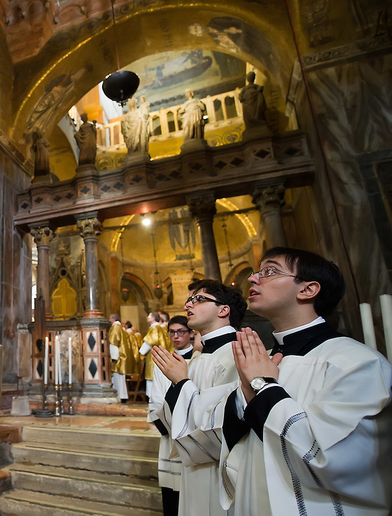 VENICE, ITALY - MARCH 25:  Ê Seminarists pray during the solemn mass at to welcome the newly appointed Patriarch of Venice Francesco Moraglia in St Mark's Cathedral on March 25, 2012 in Venice, Italy. The Patriarch of Venice is the smallest of the Italian dioceses but one of the oldest, created in 774. Three of the last seven Italian Pontiffs were Patriarch of Venice.  (Photo by Marco Secchi/Getty Images)