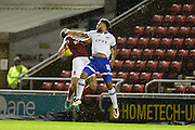 Oldham Athletic striker Aaron Holloway (10) heads the ball during the EFL Sky Bet League 1 match between Northampton Town and Oldham Athletic at Sixfields Stadium, Northampton, England on 28 February 2017. Photo by Dennis Goodwin.