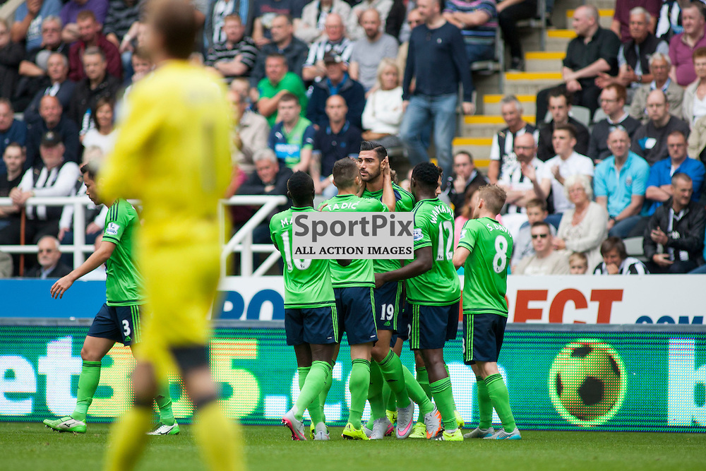 Graziano Pell&egrave; celebrates with team mates after scoring a goal for Southampton in the Newcastle United v Southampton Barclays Premier League match at St James' Park Newcastle 09 August 2015<br /> <br /> (c) Russell G Sneddon / SportPix.org.uk