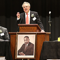 Adam Robison | BUY AT PHOTOS.DJOURNAL.COM<br /> Attorney Melvyn Leventhal, New York, New York, was this years guest speaker at the Dr. Martin Luther King Jr. Commemorative Service at the Tupelo Auditorium Sunday afternoon in Tupelo.