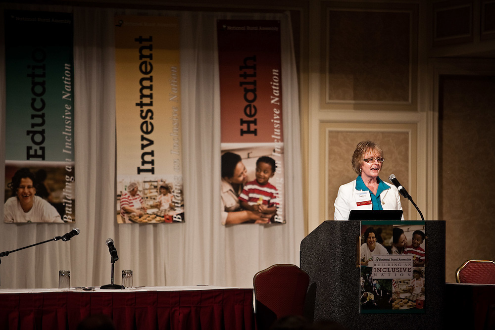 "Nancy Straw, President/CEO of the West Central Initiative, speaks to the National Rural Assembly during the ""Speaking Rural Truth to Power"" session on Tuesday, June 27, 2011."