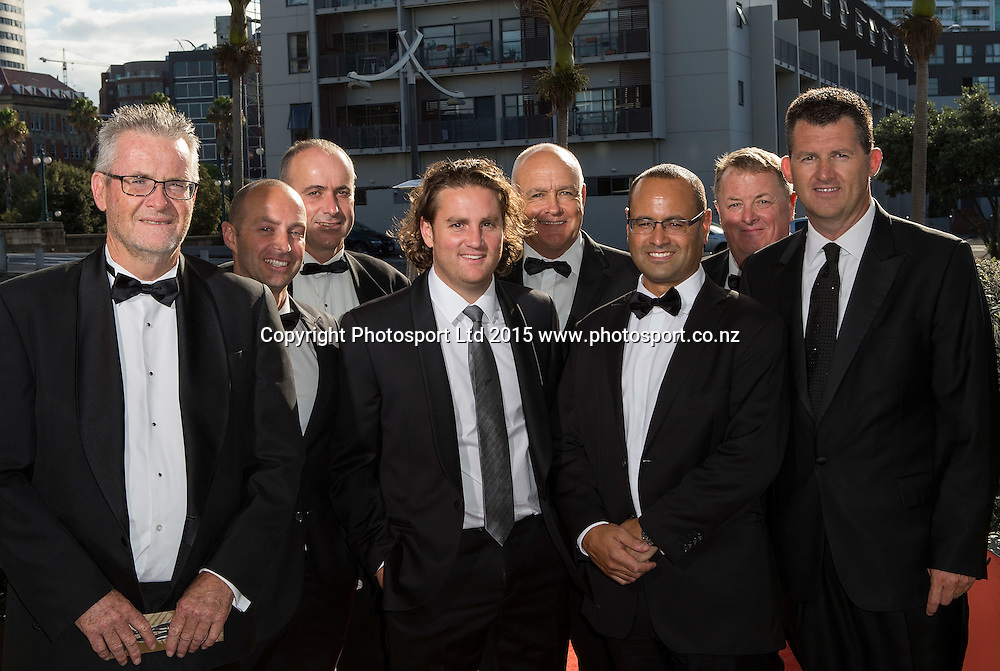 Guests pose for a picture on the red carpet at the 52nd Halberg Awards. Halberg Disability Sport Foundation. Vector Arena, Auckland, New Zealand. Wednesday 11 February 2015. Copyright Photo: David Rowland / www.photosport.co.nz