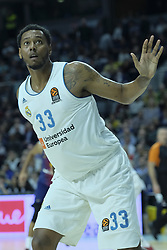 December 14, 2017 - Madrid, Spain - TREY THOMPKINS of Real Madrid during the 2017/2018 Turkish Airlines Euroleague Regular Season Round 12 game between Real Madrid v FC Barcelona Lassa at Wizink Arena on December 14, 2017 in Madrid, Spain  (Credit Image: © Oscar Gonzalez/NurPhoto via ZUMA Press)