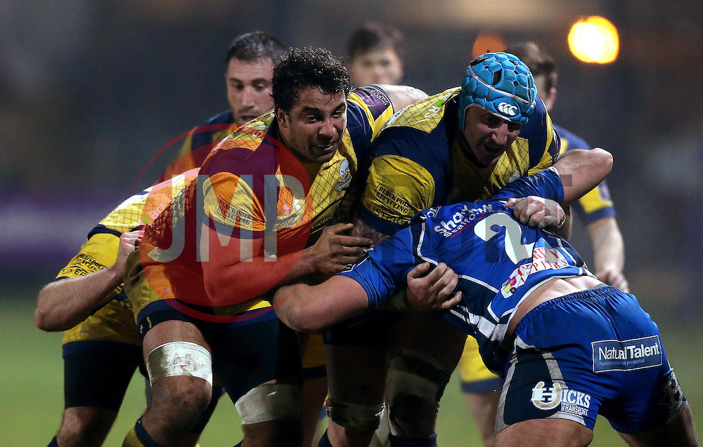 Marco Mama of Worcester Warriors and Will Spencer of Worcester Warriors drive their team forward - Mandatory by-line: Robbie Stephenson/JMP - 16/12/2016 - RUGBY - Rodney Parade - Newport, Wales - Newport Gwent Dragons v Worcester Warriors - European Rugby Challenge Cup