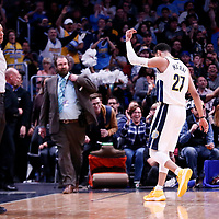 03 April 2018: Denver Nuggets guard Jamal Murray (27) celebrates during the Denver Nuggets 107-104 victory over the Indiana Pacers, at the Pepsi Center, Denver, Colorado, USA.