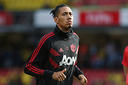 Manchester United Defender Chris Smalling in warm up during the Premier League match between Watford and Manchester United at Vicarage Road, Watford, England on 15 September 2018.