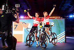 Poland's Marc Hester and Jesper Morkov celebrate winning the Men's Team Elimination during day five of the Six Day Series at Lee Valley Velopark, London