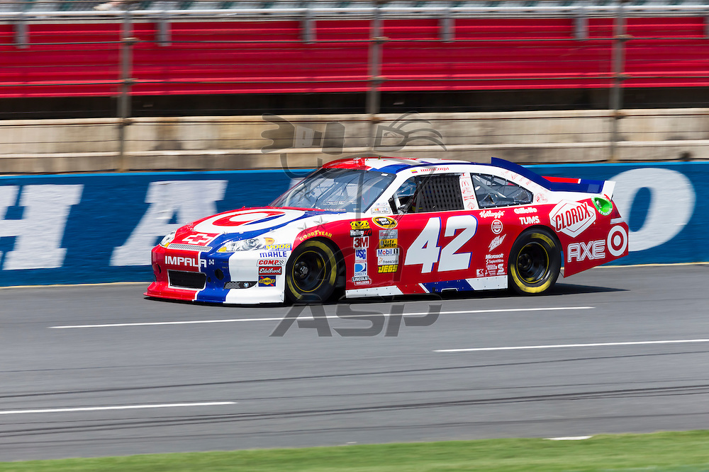 CONCORD, NC - MAY 26, 2012:  Juan Pablo Montoya (42) brings his Target Chevrolet on the track for a practice session for the Coca-Cola 600 at the Charlotte Motor Speedway in Concord, NC.
