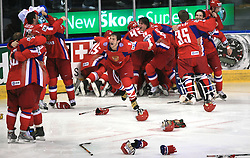 Russian players (in the middle Alexander Ovechkin (8) of Russia) celebrate victory after  ice-hockey game Canada vs Russia at finals of IIHF WC 2008 in Quebec City,  on May 18, 2008, in Colisee Pepsi, Quebec City, Quebec, Canada. Win of Russia 5:4 and Russians are now World Champions 2008. (Photo by Vid Ponikvar / Sportal Images)