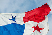 Panama national flag flying in the wind,Panama city, Panama, Central America