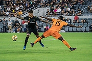 Houston Dynamo defender Maynor Figueroa (15) fouls  LAFC midfielder Brian Rodriguez (17) during a MLS soccer game, Saturday, Sept 25, 2019, in Los Angeles. LAFC wins 3-1. (Jon Endow/Image of Sport)