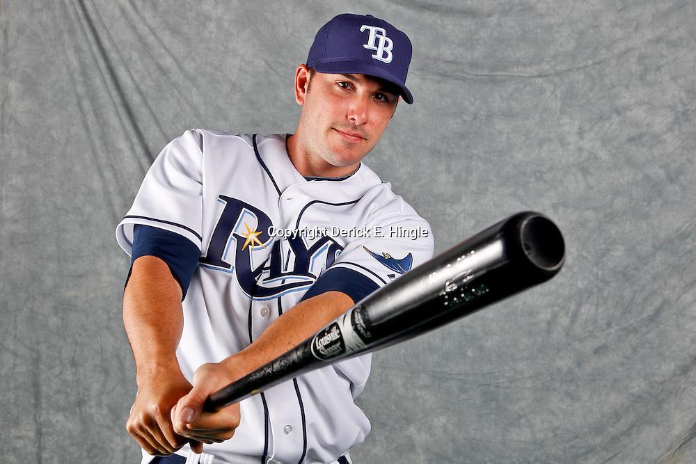 February 29, 2012; Port Charlotte, FL, USA; Tampa Bay Rays right fielder Matt Joyce (20) poses for a portrait during photo day at Charlotte Sports Park.  Mandatory Credit: Derick E. Hingle-US PRESSWIRE