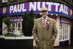 © Licensed to London News Pictures . 28/01/2017 . Stoke-on-Trent , UK . PAUL NUTTALL in front of the Ukip shop . UKIP formally launch their campaign in the by-election in the constituency of Stoke-on-Trent Central , at their new campaign shop at 1 Piccadilly in Stoke , with candidate - and party leader - Paul Nuttall . The seat was vacated when Tristram Hunt resigned . Photo credit : Joel Goodman/LNP
